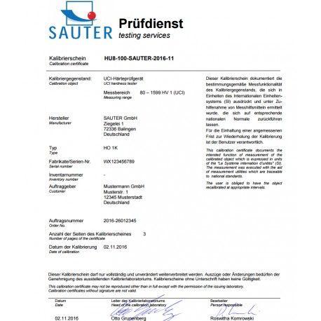 Certificato di taratura ISO su Durometri e Torsiometri SAUTER