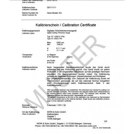 Certificato di Taratura ISO per spessimetri sonda F/N