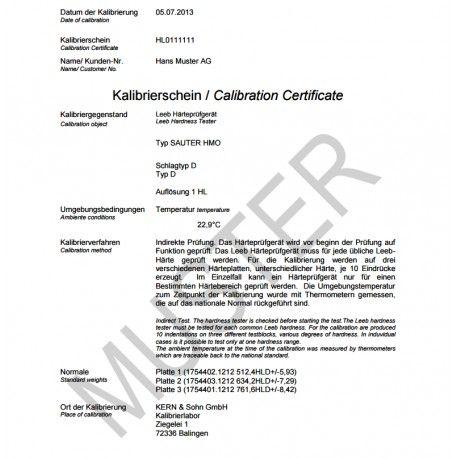 Certificato di Calibrazione ISO per durometri LEEB