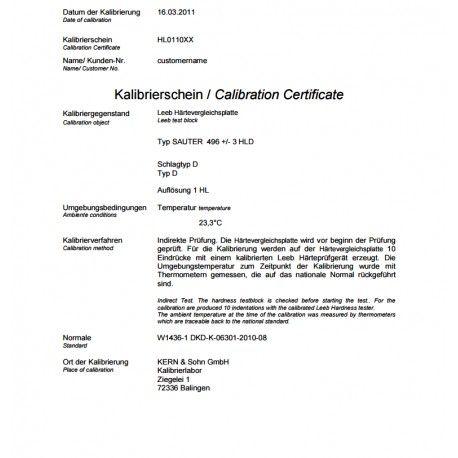 Certificato ISO per Blocco di prova SAUTER AHMO D02, AHMO D03 e AHMO D04