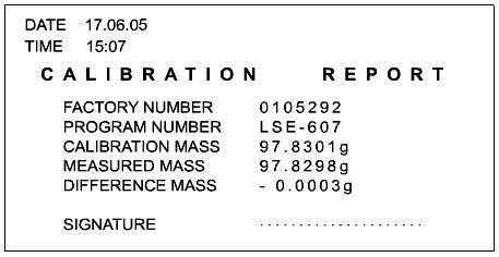 report con bilancia GLP / ISO