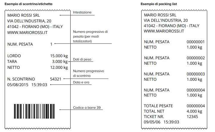 esempio di scontrino / etichetta con transpallet pesatore